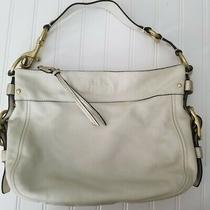 Coach Womens F1267 White Leather Bronze Metallic Purse Shoulder Hand Bag  Photo