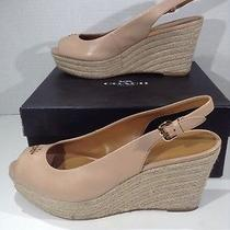 Coach Womens Ferry Beige Leather Slingback Wages Heels Shoes Size 8.5 Zh-384 Photo