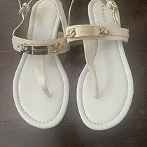 Coach Womens Flat Thong Sandals in Beige Patent Size 7.5 Photo