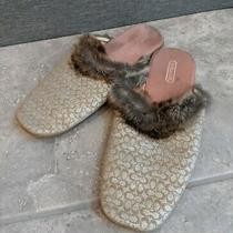 Coach - Womens Gold Coach Slippers With Fur Classy - Size 7 Photo
