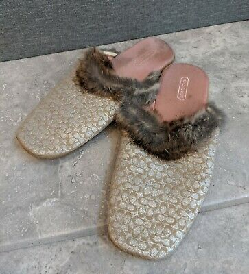 Coach - Womens Gold Coach Slippers with Fur, Classy - Size 7 Photo