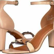 Coach Womens Heel Sandal Leather Open Toe Casual Ankle Strap Brown Size 6.5 Dx Photo