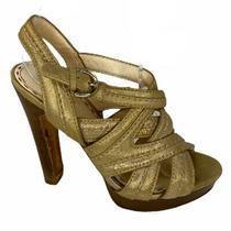 Coach Womens High Heels Size 5.5 B Gold Straps Open Toe Ankle Strap Photo