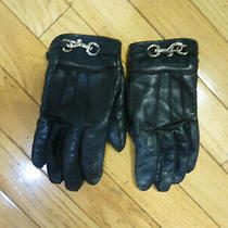 Coach Womens Leather Black  Gloves Size 7 Buckle  Photo