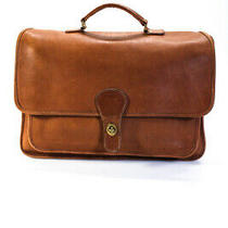 Coach Womens Leather Solid Turnlock Rectangle Laptop Briefcase Brown Photo