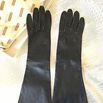 Coach Womens Long Super Thin Black Leather Dress Elbow Gloves  Size 7 / S - M Photo