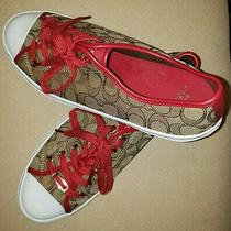 Coach Womens Low Top Sneaker Athletic Shoes Size 11 Khaki Brown Golden Red Brown Photo