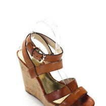 Coach Womens Platform Wedge Heel Ankle Strap Sandals Brown Leather Size 6.5 Photo