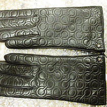 Coach Womens Quilted C Logo Leather Gloves / 80942 / Sz 7.5 / Color Teak Photo