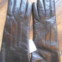 Coach Womens Script Cashmere Brown Mahogony Leather Gloves Sz 7- 82835 Nwt Photo