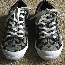 Coach Womens Shoes Sneakers Tennis Shoes Black Silver and White Women 8.5 Excell Photo