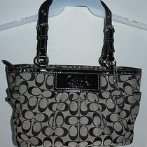 Coach Womens Signature Gallery Tote Purse Gently Used Black Photo