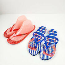 Coach Womens Signature Red Blue Flip Flops Slippers Size 9b Lots of Two Photo