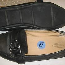 Coach Womens Size 7.5m Loafers Black Buckle Avril Square Toe Comfort Shoes Flats Photo