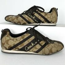 Coach Womens Size 9.5 Brown Henrietta Signature Logo Sneakers Shoes Photo