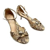 Coach Womens Size 9 Hellena Beige Snake Skin Embossed Leather Open Toe Heels Photo