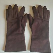 Coach Womens Size L Suede Cozy Warm Luxury Gloves Brown Cashmere Pre Owned Photo