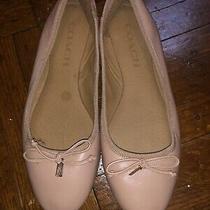 Coach Womens Slip on Leather Ballet Flats Beige Size 5.5 Photo