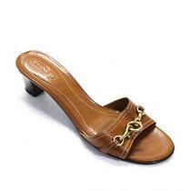 Coach Womens Slip on Low Slim Heel Single Strap Sandals Brown Leather Size 9 B Photo
