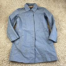 Coach Womens Small Solid Blue Button Up Collared Coat Photo
