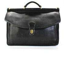 Coach Womens Turn Lock Flap Shoulder Messenger Bag Handbag Black Leather Photo