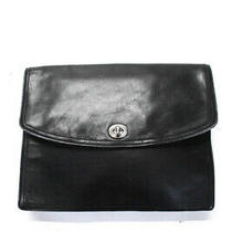 Coach Womens Turnlock Flap Envelope Clutch Handbag Black Leather Photo