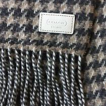 Coach Wool Cashmere Brown/tan Houndstooth Fringed Scarf Nwot 168 Mens Womens Photo