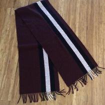 Coach Wool Maroon & Black Striped Scarf W/fringe Photo