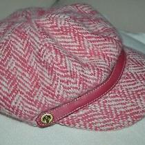 Coach Wool/mohair Newsboy Cap Hat Pink/cream Herringbone Tweed Leather Small Photo