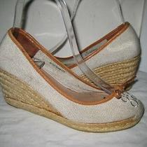 Coach  Woven Straw  Bow Wedge Shoes Women's Size 7 Made in Spain. Photo