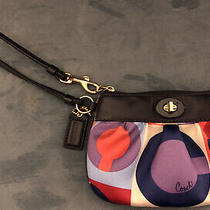 Coach Wristlet Blue Red Purple Signature c's Perfect Condition Barely Used Photo