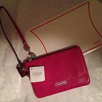 Coach Wristlet Bright Magenta New With Tags Gift Box Tissue 68.00 Photo