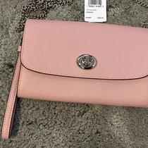 Coach Wristlet Chain Crossbody Leather F33390 Carnation Pink New Handbag Photo