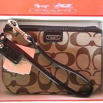 Coach Wristlet Clutch Bag Purse Handbag Signature Khaki Brown 48640b Giftbx Nwt  Photo