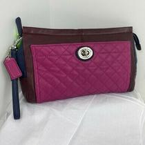 Coach Wristlet Clutch Park Quilted Colorblock Large Burgundy Pink  F50147 B22 Photo