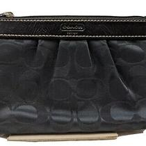 Coach Wristlet Clutch Pouch Black Signature Colored Small  Photo