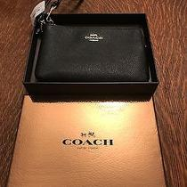 Coach Wristlet Coin Bag Small Purse Black Leather Brand New With Tags Photo