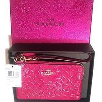 Coach Wristlet Cranberry Pink Holiday Patent Leather Sign. Phone Case Nwt 64652  Photo