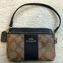 Coach Wristlet - Double Zipper - Brown With Navy Blue Accent - Small Photo