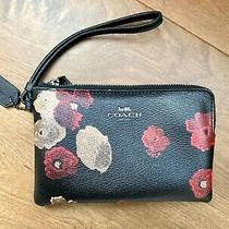 Coach Wristlet Halftone Flower Black Leather F55824 Red and Gold Flower Print Photo