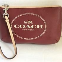Coach Wristlet Horse and Carriage New York Logo Crimson Red F51788 Nwot Photo