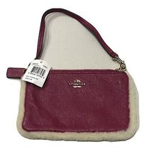 Coach Wristlet in Leather and Shearling Cranberry/pink Small Purse  Phone F64709 Photo