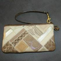 Coach Wristlet Leather Brown Gold Clutch Purse Photo