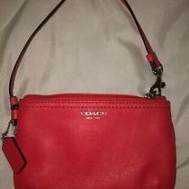 Coach Wristlet Leather Red Handbag Purse Tote Photo