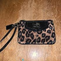 Coach Wristlet Leopard Animal Print Brown Bag Clutch Black Purse Photo
