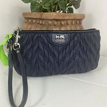 Coach Wristlet Madison Gathered 70th Anniversary 46590  Blue Nylon B19 Photo