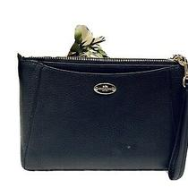 Coach Wristlet Navy Large Leather Gold Tone Hardware Photo