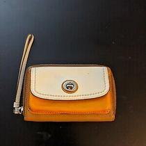 Coach Wristlet Orange Tan and White Leather Photo
