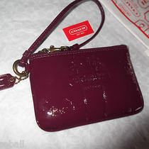 Coach Wristlet  Patent Leather Bleecker Burgundy Nwt Mfsrp 98. Photo
