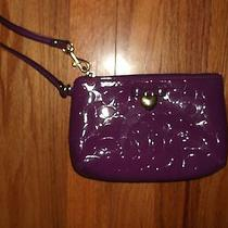 Coach Wristlet Patent Signature Purple Print Gold Heart Bow Nwot Photo